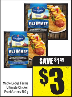 Maple Lodge Farms Ultimate Chicken Frankfurters 900 g
