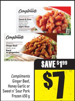 Compliments Ginger Beef - Honey Garlic or Sweet N' Sour Pork 650 g