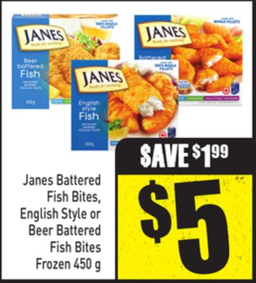 Janes Battered Fish Bites - English Style or Beer Battered Fish Bites Frozen 450 g