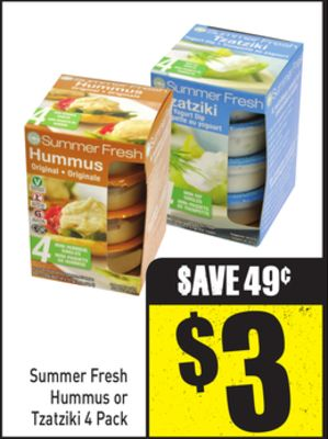 Summer Fresh Hummus or Tzatziki 4 Pack