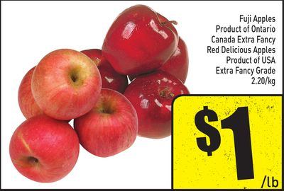 Product of Ontario Canada Extra Fancy Red Delicious Apples Product of USA Extra Fancy Grade 2.20/kg