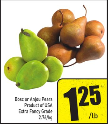 Bosc or Anjou Pears Product of USA Extra Fancy Grade 2.76/kg