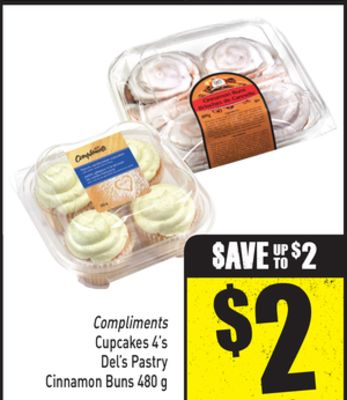 Compliments Cupcakes 4's Del's Pastry Cinnamon Buns 480 g