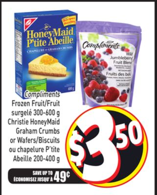 Compliments Frozen Fruit 300-600 g - Christie Honeymaid Graham Crumbs or Wafers 200-400 g
