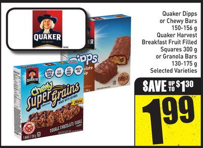 Quaker Dipps or Chewy Bars 150-156 g Quaker Harvest Breakfast Fruit Filled Squares 300 g or Granola Bars 130-175 g Selected Varieties