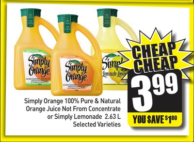 Simply Orange 100% Pure & Natural Orange Juice Not From Concentrate or Simply Lemonade 2.63 L