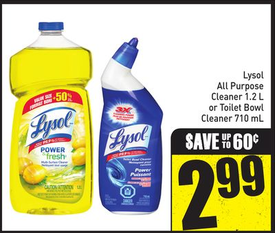 Lysol All Purpose Cleaner 1.2 L or Toilet Bowl Cleaner 710 mL