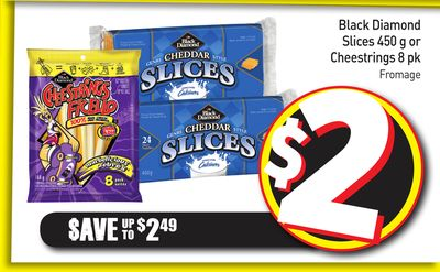 Black Diamond Slices 450 g or Cheestrings 8 Pk Fromage
