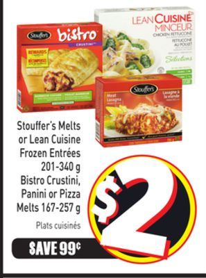 Stouffer's Melts or Lean Cuisine Frozen Entrées 201-340 g Bistro Crustini - Panini or Pizza Melts 167-257 g