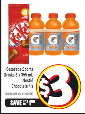 Gatorade Sports Drinks 6 X 355 mL Nestlé Chocolate 4's