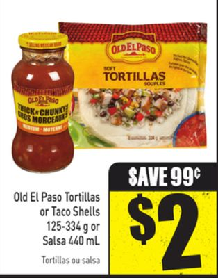 Old El Paso Tortillas or Taco Shells 125-334 g or Salsa 440 mL