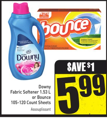 Downy Fabric Softener 1.53 L or Bounce 105-120 Count Sheets