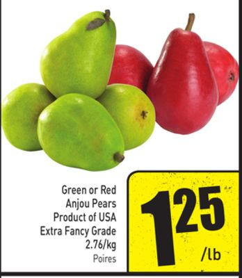 Green or Red Anjou Pears Product of USA Extra Fancy Grade 2.76/kg
