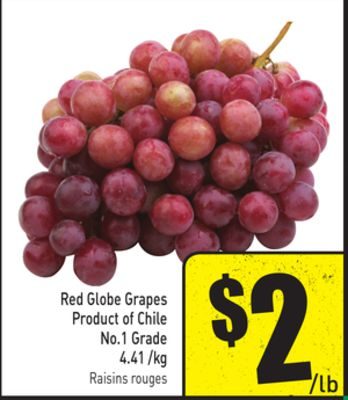 Red Globe Grapes Product of Chile No.1 Grade 4.41 /Kg