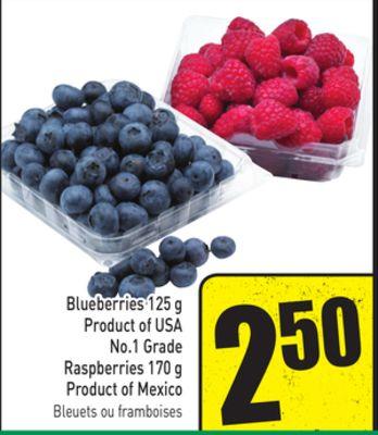 Blueberries 125 g Product of USA No.1 Grade Raspberries 170 g