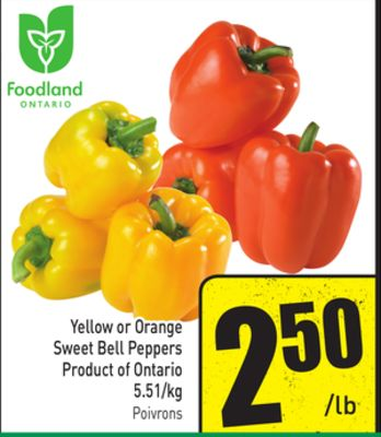 Yellow or Orange Sweet Bell Peppers Product of Ontario 5.51/kg