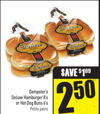 Dempster's Deluxe Hamburger 8's or Hot Dog Buns 6's