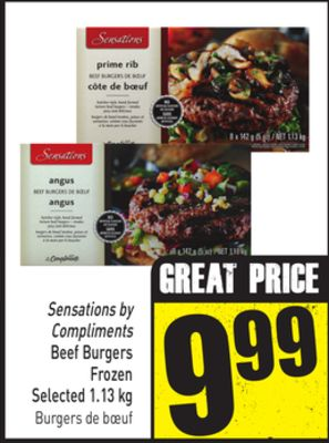 Sensations By Compliments Beef Burgers Frozen Selected 1.13 Kg