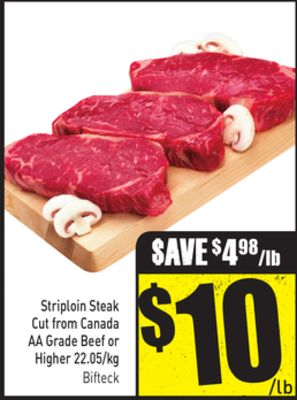 Striploin Steak Cut From Canada Aa Grade Beef or Higher 22.05/kg
