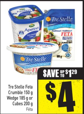 Tre Stelle Feta Crumble 150 g Wedge 185 g or Cubes 200 g