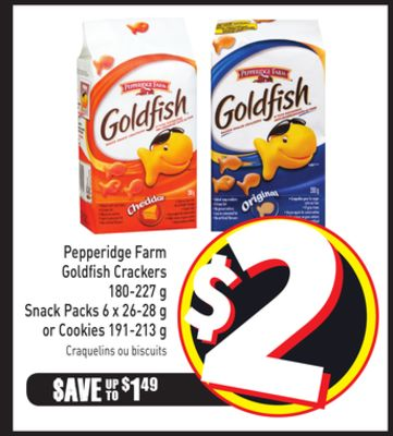 Pepperidge Farm Goldfish Crackers 180-227 g Snack Packs 6 X 26-28 g or Cookies 191-213 g