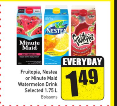 Fruitopia - Nestea or Minute Maid Watermelon Drink Selected 1.75 L