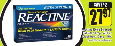 Reactine Extra Strength Tablets 10 Mg - 48's or Liqui-gels 10 Mg - 40's