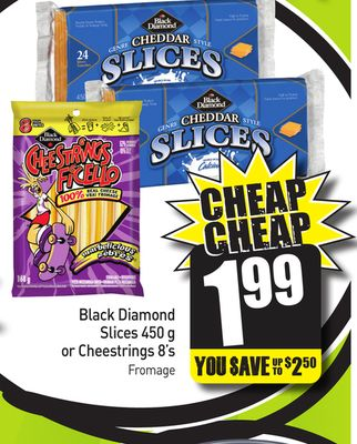 Black Diamond Slices 450 g or Cheestrings 8's