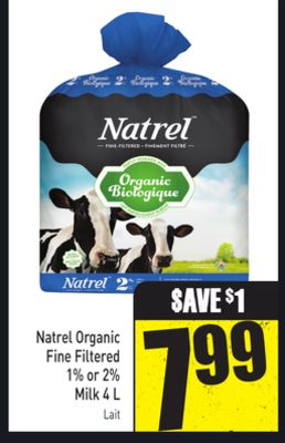 Natrel Organic Fine Filtered 1% or 2% Milk 4 L
