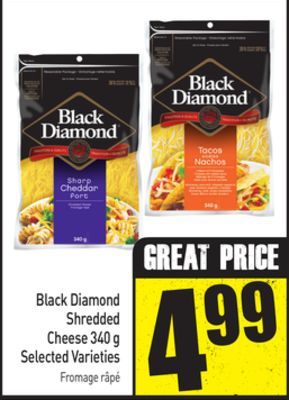 Black Diamond Shredded Cheese 340 g Selected Varieties