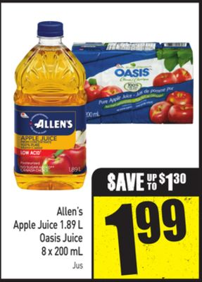 Allen's Apple Juice 1.89 L Oasis Juice 8 X 200 mL