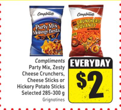 Compliments Party Mix - Zesty Cheese Crunchers - Cheese Sticks or Hickory Potato Sticks 285-300 g