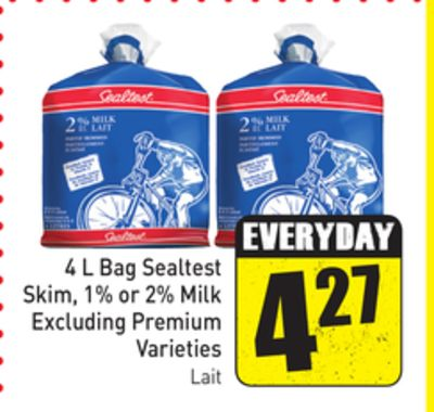 4 L Bag Sealtest Skim - 1% or 2% Milk