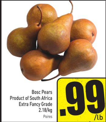 Bosc Pears Product of South Africa Extra Fancy Grade 2.18/kg
