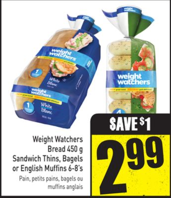 Weight Watchers Bread - 450 g Sandwich Thins - Bagels or English Muffins 6-8's