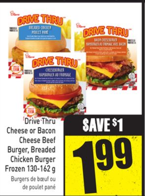 Drive Thru Cheese or Bacon Cheese Beef Burger - Breaded Chicken Burger Frozen