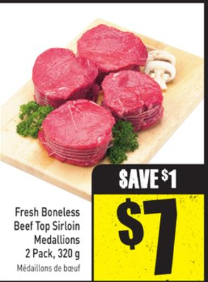 Fresh Boneless Beef Top Sirloin Medallions 2 Pack - 320 g