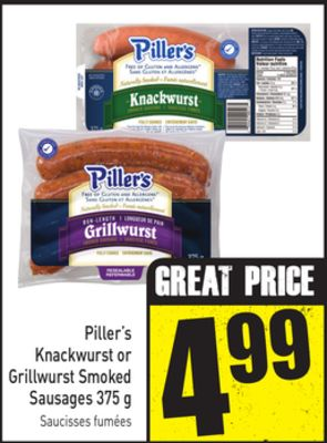 Piller's Knackwurst or Grillwurst Smoked Sausages 375 g