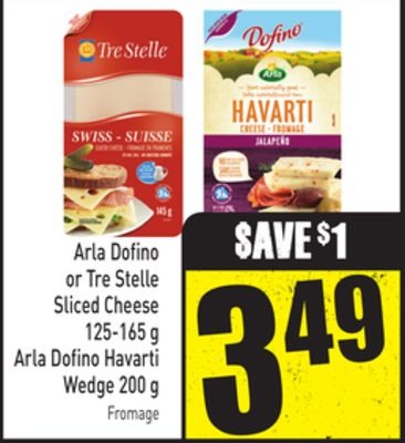Arla Dofino or Tre Stelle Sliced Cheese 125-165 g - Arla Dofino Havarti Wedge 200 g