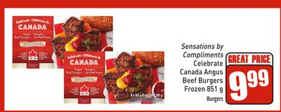 Sensations By Compliments Celebrate Canada Angus Beef Burgers Frozen 851 g