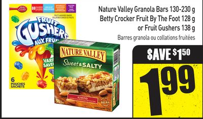 Nature Valley Granola Bars 130-230 g Betty Crocker Fruit By The Foot 128 g or Fruit Gushers 138 g