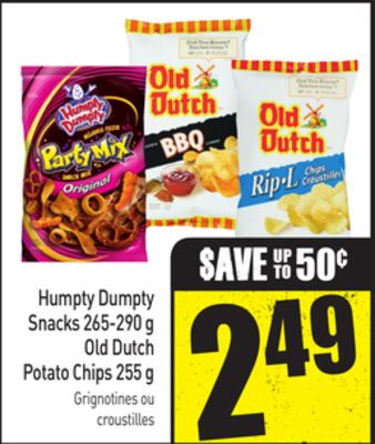 Humpty Dumpty Snacks - 265-290 g - Old Dutch Potato Chips - 255 g