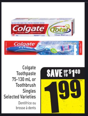 Colgate Toothpaste 75-130 mL or Toothbrush Singles