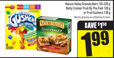 Nature Valley Granola Bars 130-230 g - Betty Crocker Fruit By The Foot 128 g or Fruit Gushers 138 g