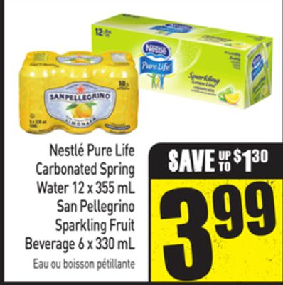 Nestlé Pure Life Carbonated Spring Water 12 X 355 mL San Pellegrino Sparkling Fruit Beverage 6 X 330 mL