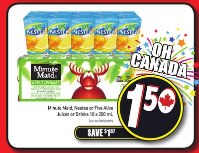 Minute Maid - Nestea or Five Alive Juices or Drinks 10 X 200 mL