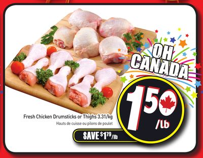 Fresh Chicken Drumsticks or Thighs 3.31/kg