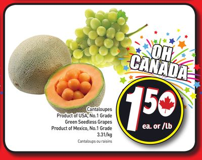 Cantaloupes - Green Seedless Grapes