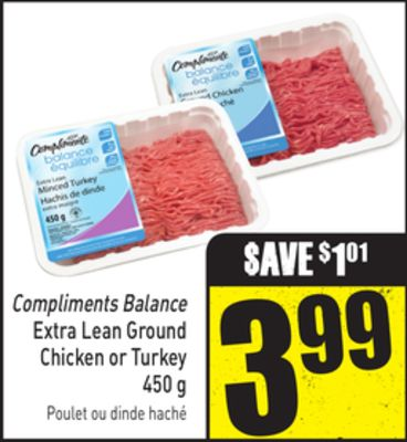 Compliments Balance Extra Lean Ground Chicken or Turkey 450 g