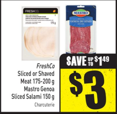 Freshco Sliced or Shaved Meat 175-200 g Mastro Genoa Sliced Salami 150 g